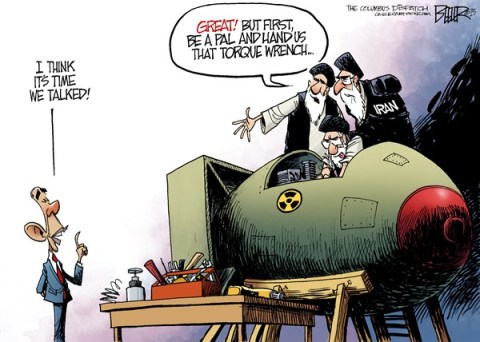 Nate Beeler - The Columbus Dispatch - Obama and Iran COLOR - English - barack obama, iran, diplomacy, nuclear, weapon, nuke, middle east, ayatollah, un, united nations, sanctions, talk, foreign affairs, world