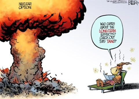 Nate Beeler - The Columbus Dispatch - Democrats Go Nuclear COLOR - English - democrats, senate, congress, nuclear option, bomb, explosion, tan, politics, captitol, washington, harry reid, senators, rules, filibuster, nominations