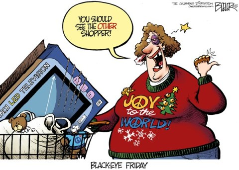 Nate Beeler - The Columbus Dispatch - Holiday Shopping COLOR - English - black friday, shopping, shopper, violence, fight, holiday, spending, consumerism, consumer, christmas, thanksgiving