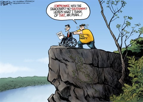 Nate Beeler - The Columbus Dispatch - Paul Ryan Cliff COLOR - English - paul ryan, budget, deal, congress, house, republican, gop, tea party, compromise, shutdown, democrats, politics, spending, conservative, washington, cliff