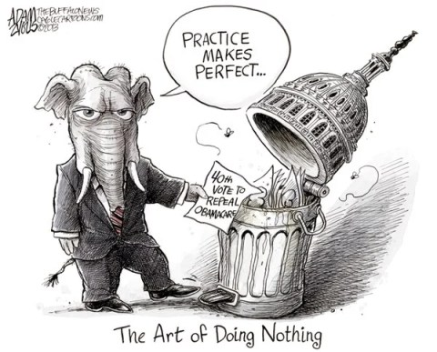 Adam Zyglis - The Buffalo News - Do Nothing Congress COLOR - English - gop, republican, party, house, congress, do nothing, government, obama, obamacare, health care, reform, law, aca, affordable care act, repeal, 40, votes