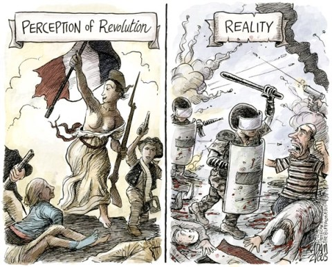 Adam Zyglis - The Buffalo News - Revolution COLOR - English - revolution, french, egypt, egyptian, perception, reality, bloody, democracy, middle east, military, crackdown, conflict, unrest, civil war, muslim brotherhood, arab, state