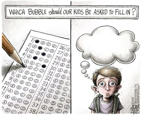 Adam Zyglis - The Buffalo News - Back to School COLOR - English - school, education, public, children, kids, testing, standardized, common core, teaching, bubble sheet