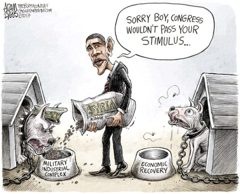 Adam Zyglis - The Buffalo News - Military Stimulus COLOR - English - obama, president, syria, military, strike, action, attack, stimulus, economy, spending, war, costs, taxpayer, jobs, investment, congress, washington