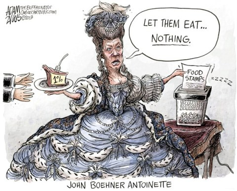Adam Zyglis - The Buffalo News - John Boehner Antoinette COLOR - English - john boehner, marie antoinette, food stamps, snap, program, cuts, congress, gop, tea party, poor, 1 percent, 1 , rich, republican, party, house