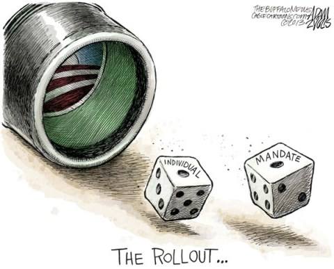 Adam Zyglis - The Buffalo News - ACA Rollout COLOR - English - obamacare, rollout, individual mandate, gamble, dice, health care, reform, law, aca, affordable care act, obama, president, risk, insurance, private market
