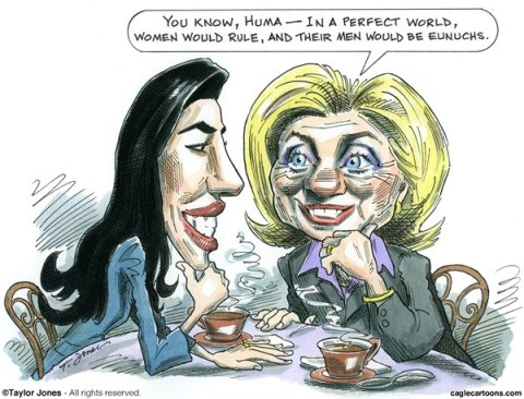 Taylor Jones - Politicalcartoons.com - Huma consults Hillary - COLOR - English - 		huma,abedin,hillary,clinton,anthony,weiner,jokes,sexting,eunuchs,underwear,new york,city,mayoral,campaign