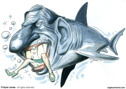 Taylor Jones - Politicalcartoons.com - San Diego mayor Bob Filner - COLOR - English - bob,filner,san,diego,mayor,sexual,harassment,groping,rudeness,sex,addiction,sharks