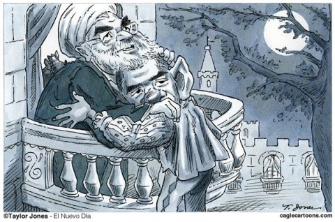 Taylor Jones - El Nuevo Dia, Puerto Rico - Rouhani and Obama - Forbidden Love - English - hasan,rouhani,barack,obama,iran,nuclear,program,bomb,sanctions,romeo,juliet