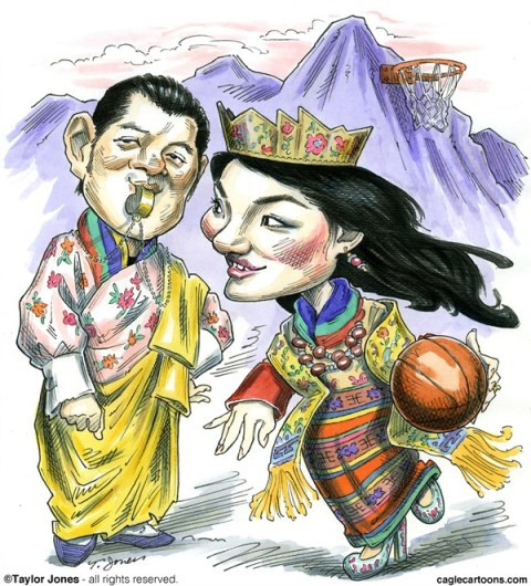 Taylor Jones - Politicalcartoons.com - Queen Jetsun - Bhutan loves Basketball - COLOR - English - bhutan,basketball,queen,jetsun,pema,king,jigme,wangchuck,himalayas,happiness,buddhism,asia