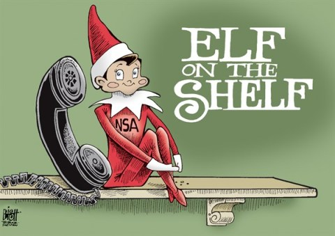 Randy Bish - Pittsburgh Tribune-Review - NSA ELF ON THE SHELF, COLOR - English - NSA, PHONE, SPY, SPYING, GOVERNMENT