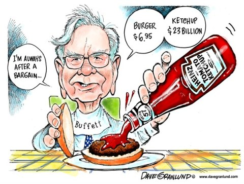 Dave Granlund - Politicalcartoons.com - Warren Buffett and Heinz - English - Buffett, warren, Warren Buffett, billions, sold, bought, purchase, heinz, ketchup, condiments, burger, 57 varieties, money,