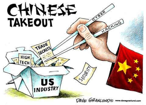 Dave Granlund - Politicalcartoons.com - China cyber-hacking - English - China, Chinese, Chinese aemy, china military, red , communist, communism, chinese takeout, cyber hacking, hacking, spying, us industry, trade secrets, security, power grid, cyber attacks, internet, stealing secrets,