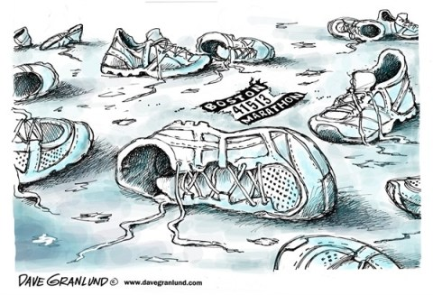Dave Granlund - Politicalcartoons.com - Boston Marathon terror - English - Terrorism, boston, race, killed, bombings, bombing, children, victims, boston marathon, runners, shoes, april 13