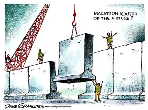 Dave Granlund - Politicalcartoons.com - Future marathon security - English - marathon, security, safe, secure, bombers, bombs, terrorists, guards, boston, massachusetts, ma, killed, victims, fears, fortress,walls, barrier, safety, runners, extremists, boston marathon, finish line