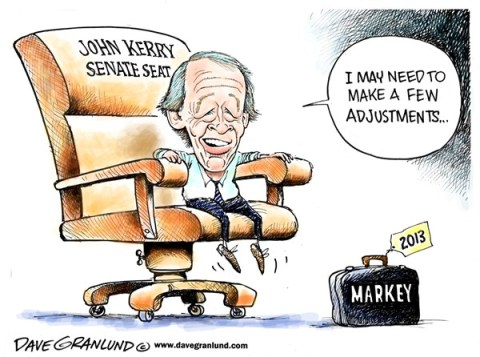 Dave Granlund - Politicalcartoons.com - Markey wins Kerry Seat - English - Markey, Rep Markey, Ed markey, John kerry seat, US Senate, senate, wins, election, 2013, washington, campaign, Massachusetts, MA, Bay State, winner