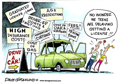 Dave Granlund - Politicalcartoons.com - Teens delay driving - English - driving license, license delays, auto costs, gas costs, fuel costs, insurance costs, auto repairs, age restrictions, driver ed, testing, texting, graduated license, fees, fines, penalties, teen drivers, waiting