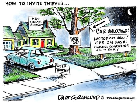 Dave Granlund - Politicalcartoons.com - Thefts in suburbs up - English - robbery, unlocked autos, unlocked vehicles, thefts thieves, robbers, victims, stolen, stealing, laptop thefts, GPS, garage thefts, homes, cars, trucks, missing, suburban crime, burbs, criminals