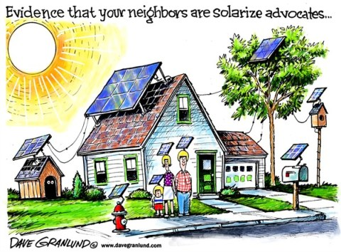 Dave Granlund - Politicalcartoons.com - Solar energy - English - Solarize, solarize programs, homes, electricity, green energy, power, solar power, solar panels, sun, sunshine, rooftops, alternative energy, sunlight
