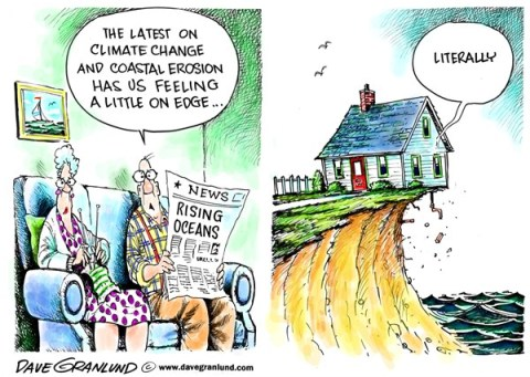 Dave Granlund - Politicalcartoons.com - Climate change and erosion - English - Coastal erosion, rising oceans, warmer temperatures, warm oceans, rising levels, melting ice, polar cap, ice melt, water temps, beach erosion, seas, beach front, ocean front, sea coast,