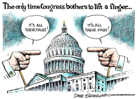 Dave Granlund - Politicalcartoons.com - Congress blame game - English - Congress, Senate, House, gop, Democrats, Dems, Congressional, budget, Obamacare, No compromise, partisan politics, gridlock, governmentm shutdown, shut down, finger pointing, fingers