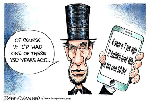 Dave Granlund - Politicalcartoons.com - Gettysburg address 150th - English - Abe, honest abe, lincoln, abraham lincoln, civil war, cemetery, speech, address, gettsburg address,  four score, rebels, union, soldiers, dead, battle, iphone, tweet, texting, envelope, anniversary