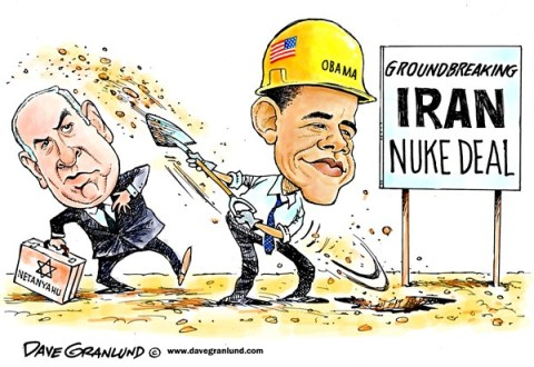 Dave Granlund - Politicalcartoons.com - Iran nuke deal - English - Iran, nuclear, arms, us, Obama, mideast, middle east, arabs, iranian, nuke weapons, weapons, enrichment, israel, netanyahu, nuclear bomb, sanctions, lift sanctions, agreement