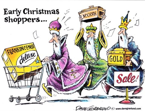 Dave Granlund - Politicalcartoons.com - Early Christmas shoppers - English -  Shoppers, Christmas, black friday, gift shopping, holidays, season, door busters, deals, sales, discounts, Wise Men, manger, myrrh, fankincense, gold, presents, savings, holiday rush