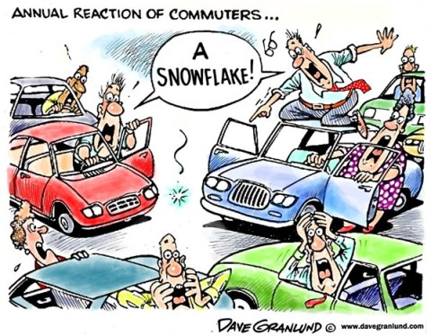 Dave Granlund - Politicalcartoons.com - First snowflake - English - Snow, snowy, road, traffic, commuting, slippery, panic, highways, wintry, winter, travel, accidents, safety, flakes, ice, precipitation, sleet,