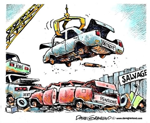Dave Granlund - Politicalcartoons.com - Detroit insolvency - English - Bankruptcy, bankrupt, debt, pensions, broke, broken, default, corruption, jobless, pensioners, cuts, court ruling, salvage, bankruptcy protection, insolvent