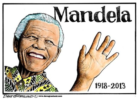 Dave Granlund - Politicalcartoons.com - Nelson Mandela tribute - English - Mandela, nelson, South Africa, leader, rights, blacks, whites, president, elected, africa, obituary, death, dies,