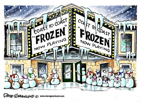 Dave Granlund - Politicalcartoons.com - Frozen USA - English - Ice storm, snow, deep freeze, chill, frigid, icy, snowy, winter, weather, power outages, roads, extreme cold, power lines, snowmen, disney, Frozen, box office, cold snap, low temperatures