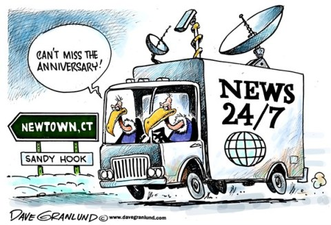 Dave Granlund - Politicalcartoons.com - Newtown anniversary - English - Newtown, connecticut, ct, massacre, school shootings, deaths, innocent, kids, victims, mourning, killings, slaughter,guns, violence, gun control, sandy hook, elementary school, students, faculty