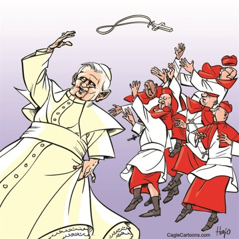 Hajo de Reijger - The Netherlands - pope abdication - English - pope, abdication, benedict, cross, tossing, throwing,  kardinal, wedding, bride