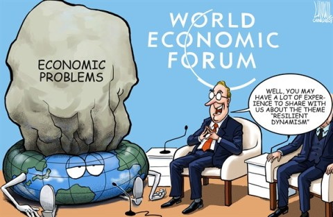 Luojie - China Daily, China - Davos summit - English - Davos summit,the earth,economic problems,theme,resilient dynamism