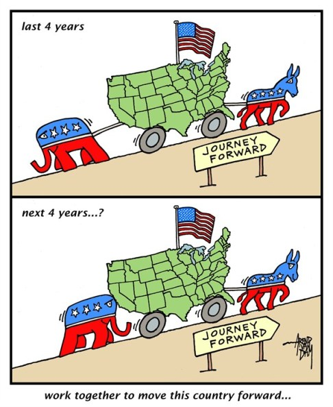 Arend Van Dam - politicalcartoons.com - Journey Forward - English - United States, together, move this country forward, journey forward