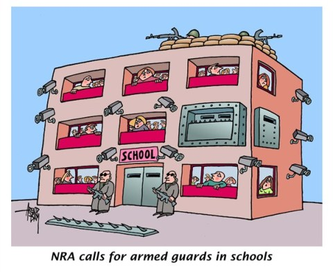 Arend Van Dam - politicalcartoons.com - NRA wants more arms - English - NRA, school shooting, arms, arms control, guns, schools