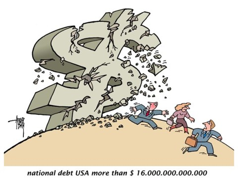 Arend Van Dam - politicalcartoons.com - national debt USA - English - national debt, fiscal cliff