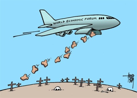 Arend Van Dam - politicalcartoons.com - World Economic Forum - English - Davos, World Economic Forum, hunger