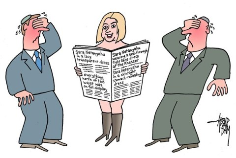 Arend Van Dam - politicalcartoons.com - Sara Netanyahu - English - Sara Netanyahu, Knesset, see-through dress, transparent dress