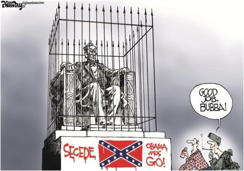 Bill Day - Cagle Cartoons - The Party of Lincoln - English - secession,GOP,Lincoln,Obama,racism,seceding movement
