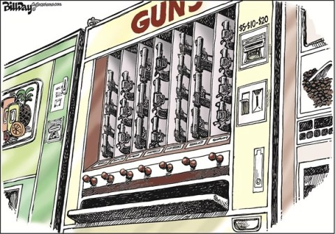 Bill Day - Cagle Cartoons - Gun Machine - English - guns, guns, guns, candy machine, kids, killing