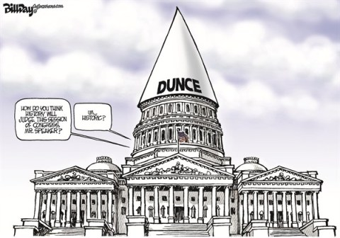 DUNCE CAP © Bill Day,Cagle Cartoons,Congress,Speaker Boehner,dunce cap,capitol,boehner stalled, fiscal cliff
