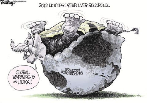 Bill Day - Cagle Cartoons - Turtlephant - English - global warming,turtle,hoax,hottest,year,record,elephant, GOP