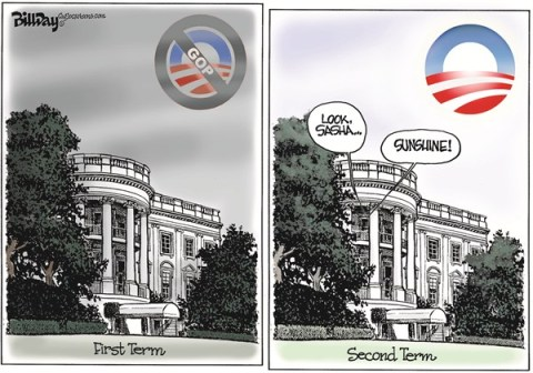 Bill Day - Cagle Cartoons - Here Comes the Sun - English - Inauguration, Obama, second term, GOP