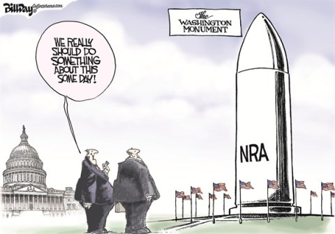 Bill Day - Cagle Cartoons - The Washington Monument - English - Congress, Guns, bullets, NRA, Washington Monument