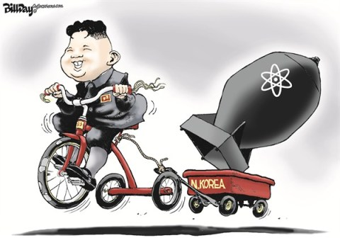 Bill Day - Cagle Cartoons - Nuke Kook  COLOR - English - N Korea, nuke, kook, atom bomb, trike