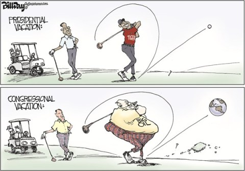 Bill Day - Cagle Cartoons - Tee Time  COLOR - English - Obama, Congress, golf, Tiger Woods, vacation, big oil