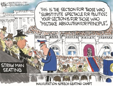 Straw Man Seating © Chip Bok,The Akron (Ohio) Beacon Journal,obama,inauguration,seating,chart,speech,section,obama-inauguration