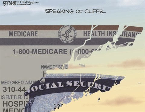 Speaking of Cliffs © Steve Breen,The San Diego Union Tribune,social security,medicare,cliff,insurance,fiscal-cliff-stopped